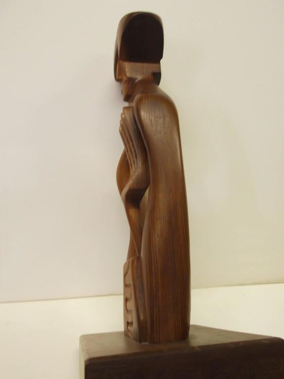 American Modern Abstract Mexican Farmer Carved Sculpture California Modernist Artist Frank Petek For Sale