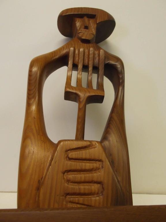 Abstract Mexican Farmer Carved Sculpture California Modernist Artist Frank Petek For Sale 1