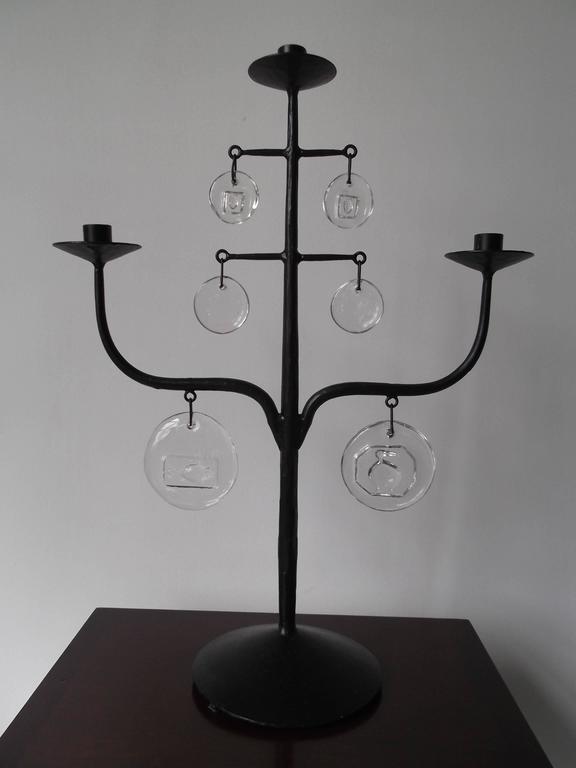 Erik Hoglund Mid Century Swedish Iron Glass Candelabra