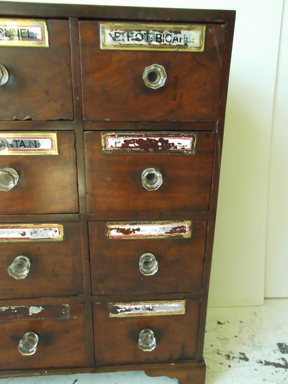Small Antique Federal Mahogany Footed Apothecary Chest