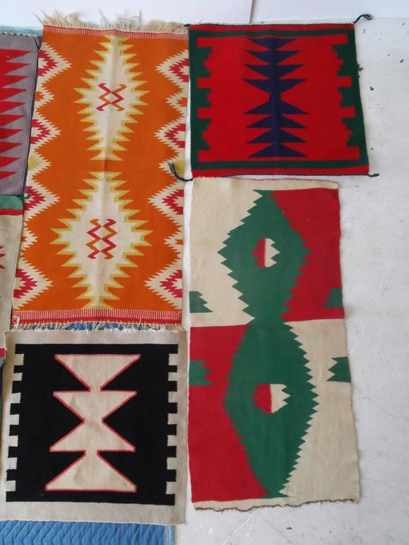 20th Century 11 Antique Germantown Navajo Native American Indian Sampler Rug Weavings For Sale