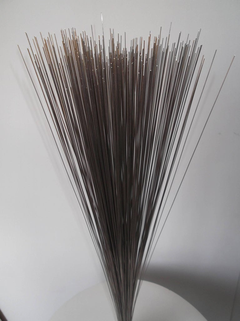 This is a fantastic sculpture in the style of Harry Bertoia. It is a vintage piece from the 1960s or 1970s era. It is a nice form shooting measuring 34 inches tall, vertically, in a small area. The rods are very fine and wave with air flow even. The
