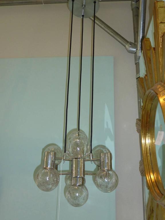 German Mid-Century Modern Chrome and Glass Pendant Light Fixture