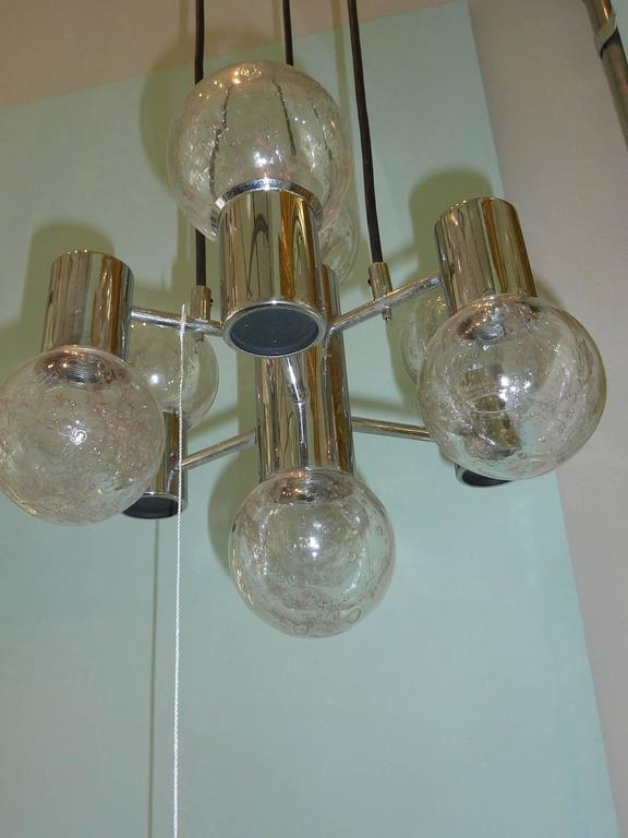 Mid-Century Modern Chrome and Glass Pendant Light Fixture In Good Condition In Frisco, TX