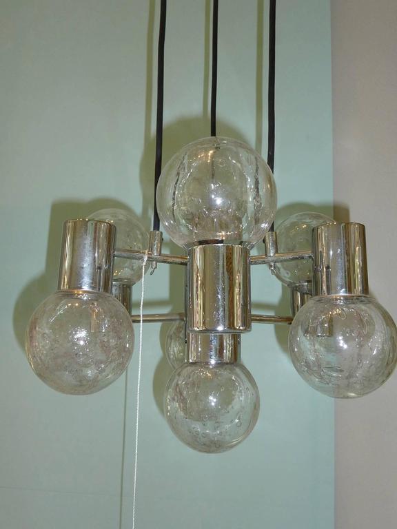 Late 20th Century Mid-Century Modern Chrome and Glass Pendant Light Fixture