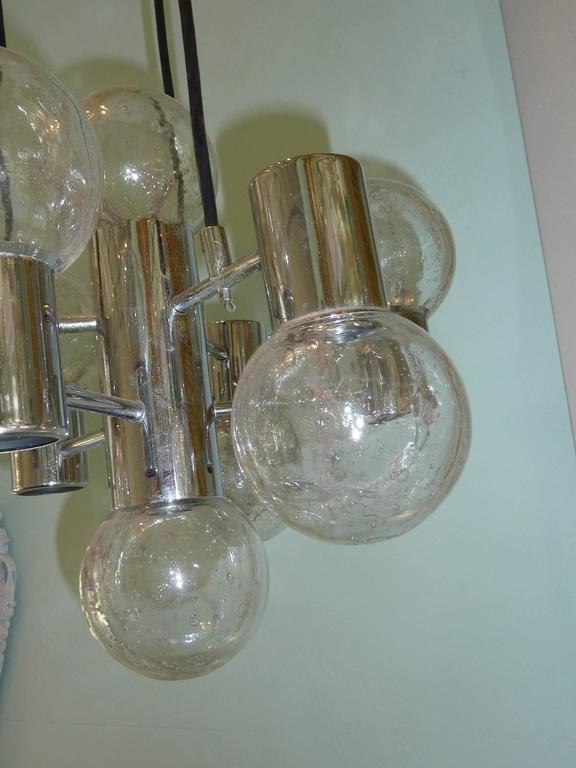 Mid-Century Modern Chrome and Glass Pendant Light Fixture 2