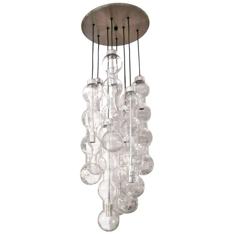 Large Vintage Doria Glass Chandelier