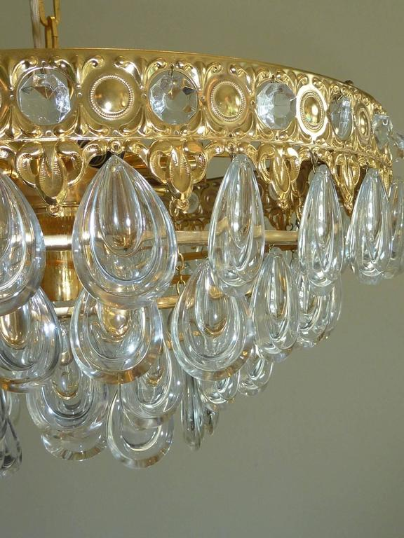 German Teardrop Crystal Glass Chandelier by Palwa, circa 1970s For Sale