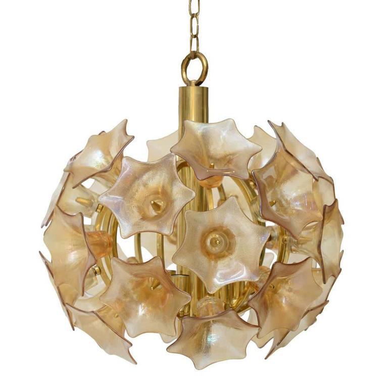 European Amber Glass Flower Sputnik Light Chandelier For Sale