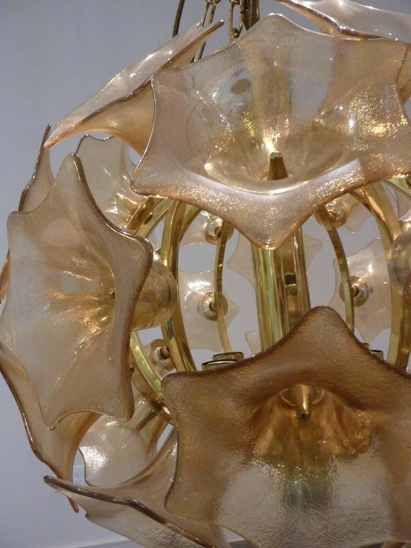 Brass European Amber Glass Flower Sputnik Light Chandelier For Sale