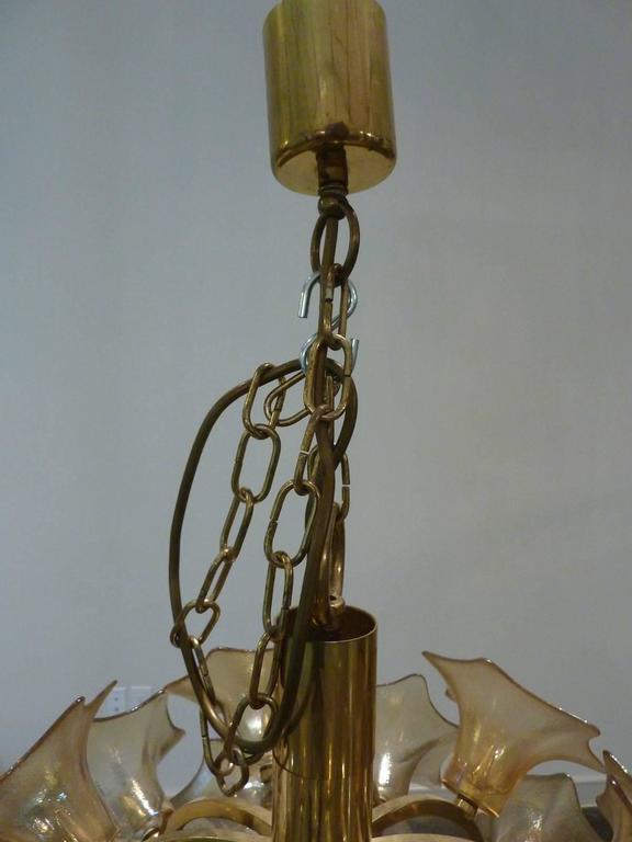 European Amber Glass Flower Sputnik Light Chandelier For Sale 2