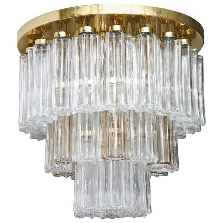 Mid Century Modern Limburg Glass Tube Chandelier Flush Mount For Sale