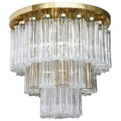 Mid Century Modern Limburg Glass Tube Chandelier Flush Mount