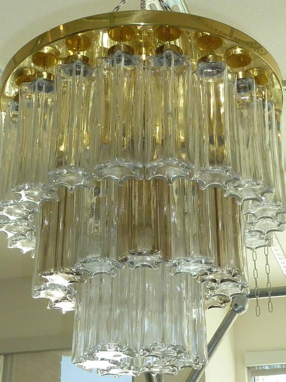 Mid Century Modern Limburg Glass Tube Chandelier Flush Mount For Sale 1