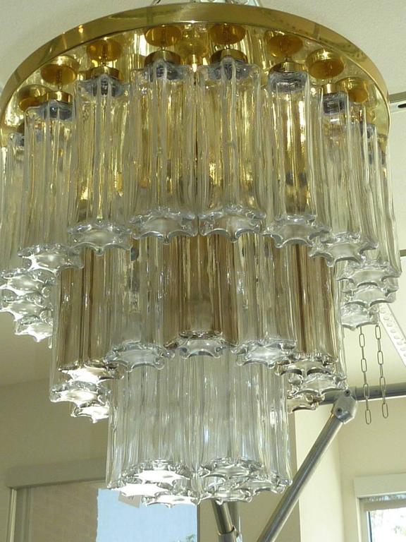 Brass Mid Century Modern Limburg Glass Tube Chandelier Flush Mount For Sale