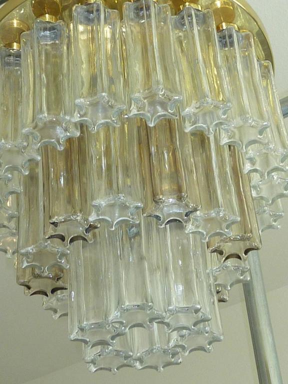 Mid Century Modern Limburg Glass Tube Chandelier Flush Mount For Sale 2