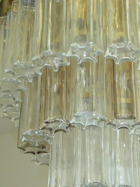 Mid Century Modern Limburg Glass Tube Chandelier Flush Mount For Sale 3