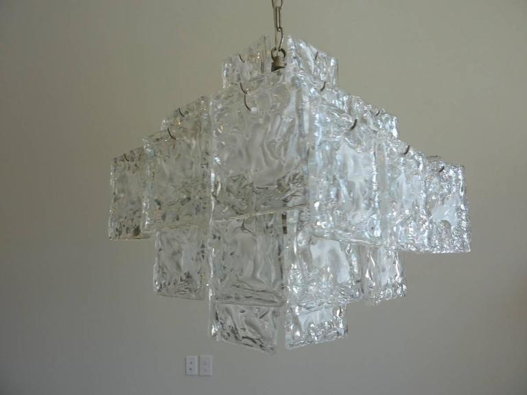 Mid-20th Century Clear and White Square Glass Chandelier from Murano, Italy For Sale