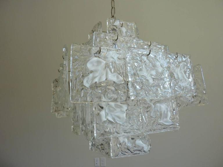 Italian Clear and White Square Glass Chandelier from Murano, Italy For Sale