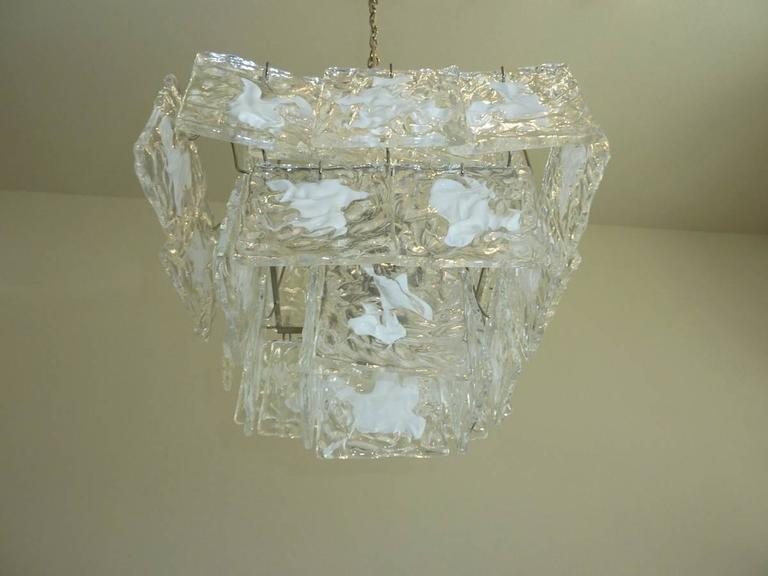 Clear and White Square Glass Chandelier from Murano, Italy In Good Condition For Sale In Frisco, TX