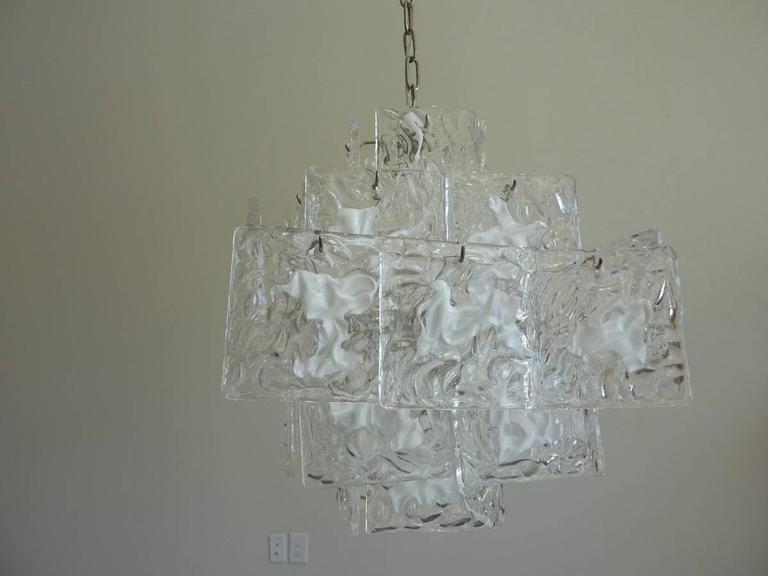 Clear and White Square Glass Chandelier from Murano, Italy For Sale 1