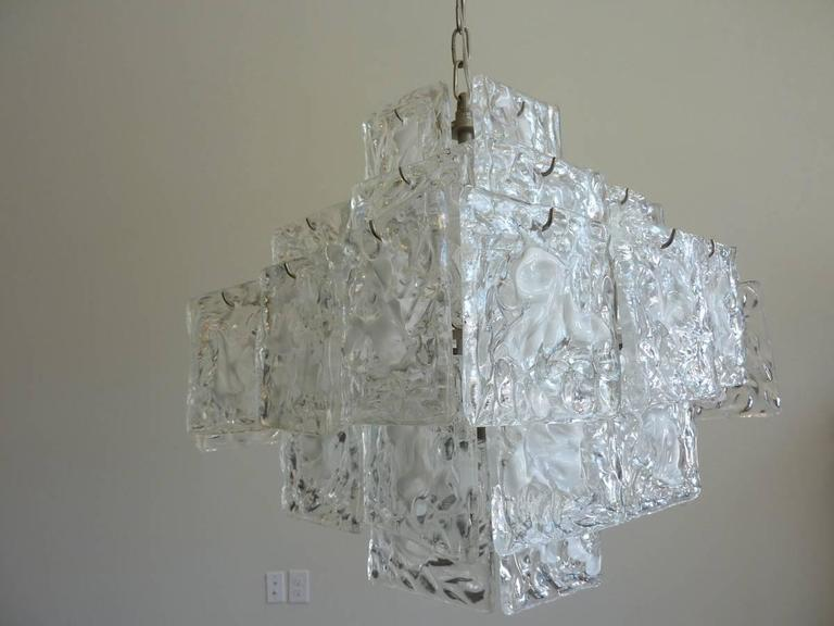 Clear and White Square Glass Chandelier from Murano, Italy For Sale 2
