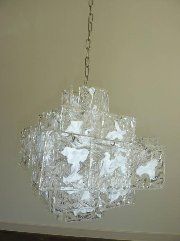 Clear and White Square Glass Chandelier from Murano, Italy For Sale 4