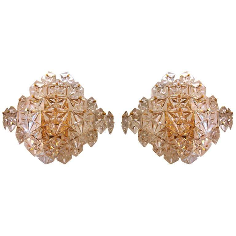 Impressive Pair of Kinkeldey Crystal Sconces For Sale