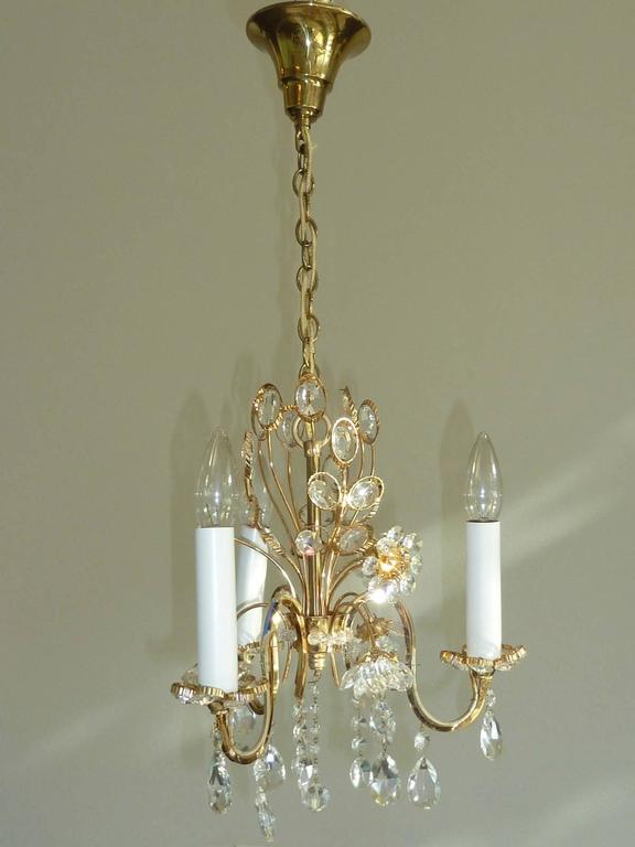 Petite crystal flowers chandelier palwa germany for sale at 1stdibs petite chandelier crystal flowers made by the german company palwa the fixture has three european aloadofball Images