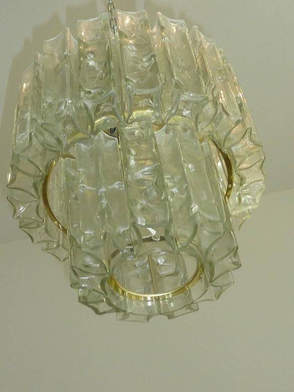 German Elegant Doria Glass Square Tube Flush Mount Chandelier For Sale