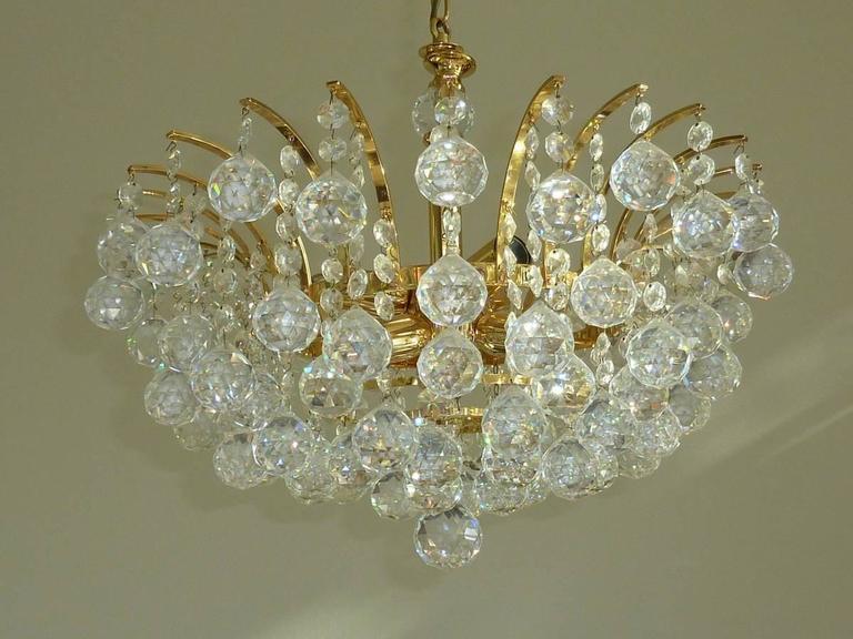 Vintage Crystal Ball Chandelier Attributed To Swarovski