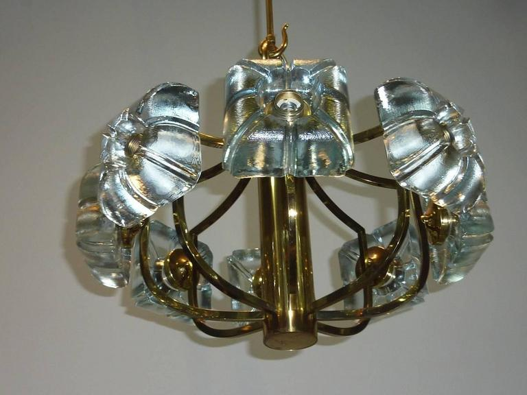 Kalmar Block Glass and Brass Chandelier For Sale 1