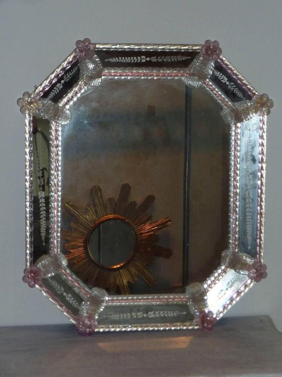 vintage murano glass flower framed mirror for sale at 1stdibs. Black Bedroom Furniture Sets. Home Design Ideas