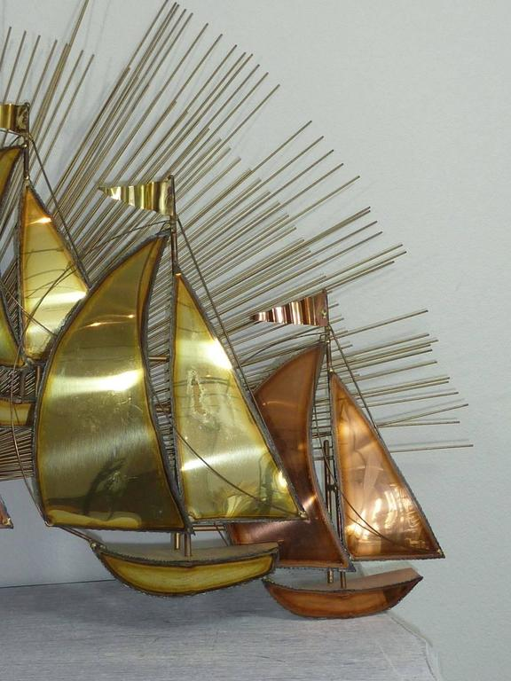 Brutalist Sailing Boats And Sunburst Wall Sculpture For