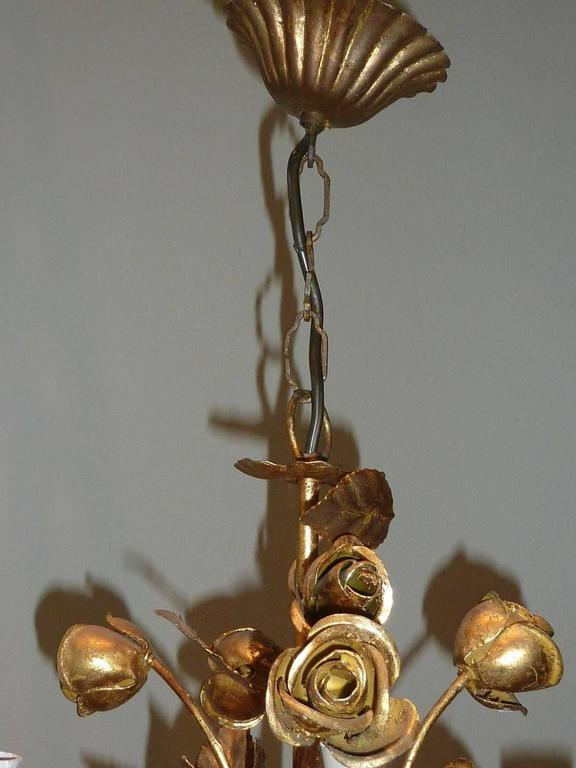 1960s Italian Gilded Rose Flower Chandelier Hollywood Regency Style For Sale 2