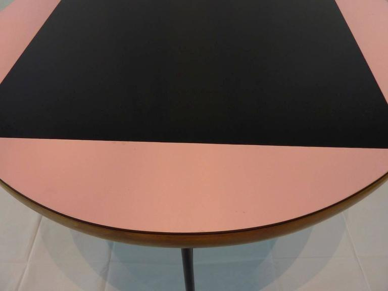 Pink and Black Mid-Century Rockabilly Dining Table In Good Condition For Sale In Frisco, TX