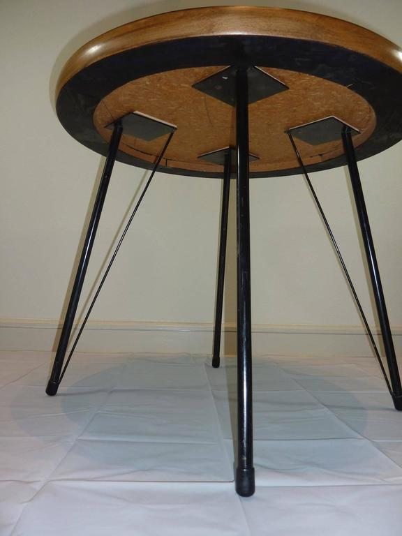 Metal Pink and Black Mid-Century Rockabilly Dining Table For Sale