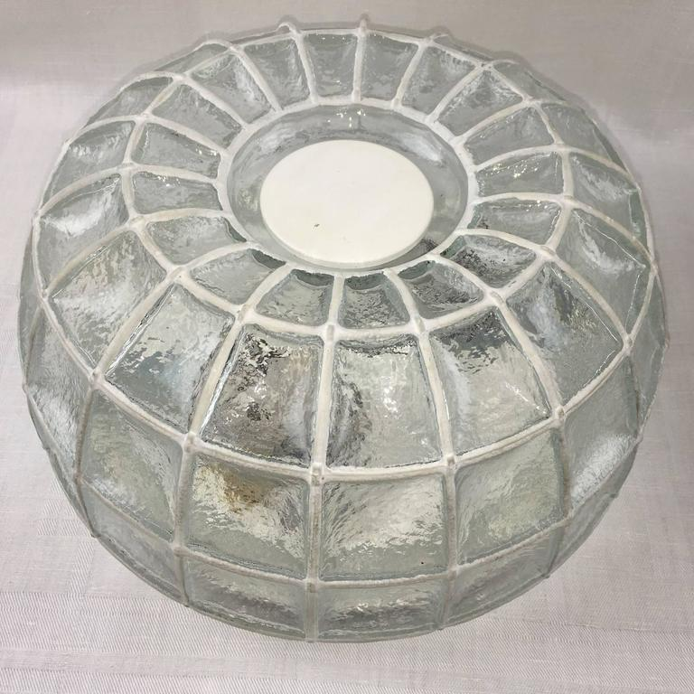German Pair of Limburg Honeycomb Iron and Clear Glass Flush Mount For Sale