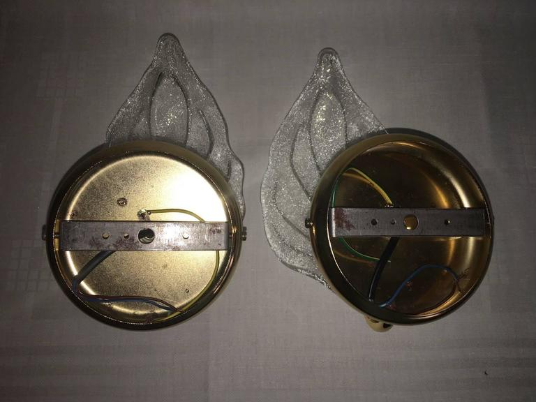 Gold Plate Pair of Leaf Murano Glass Wall Sconces For Sale
