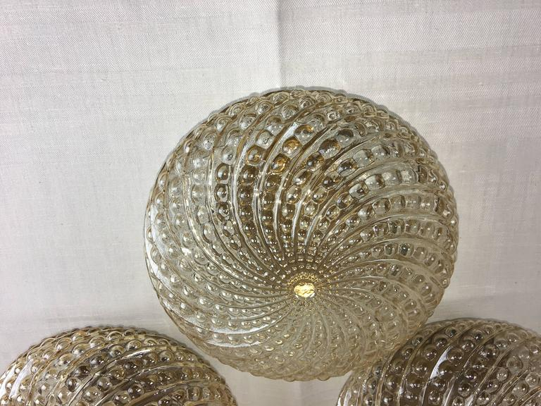 Three Round German Bubble Glass Sconces or Flush Mount In Good Condition For Sale In Frisco, TX