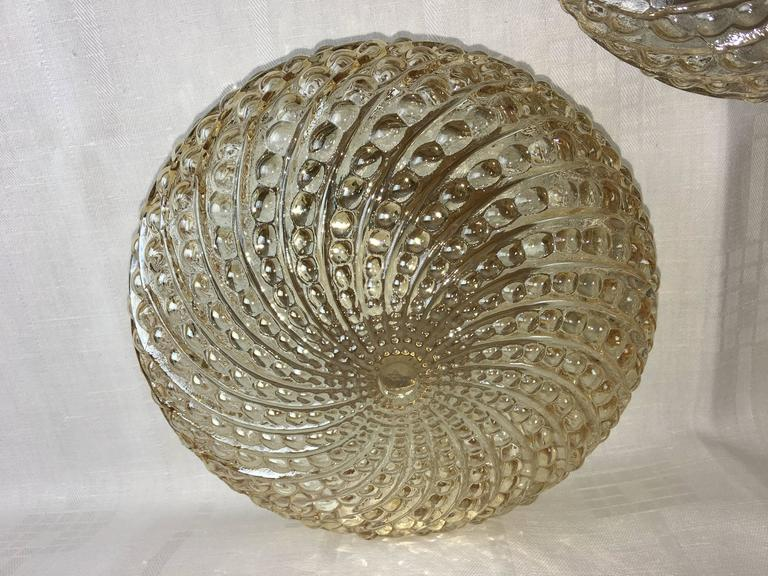 Metal Three Round German Bubble Glass Sconces or Flush Mount For Sale