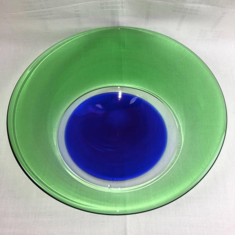 Mid-20th Century Large 1960s Italian Murano Glass Sommerso Fruit Bowl  For Sale