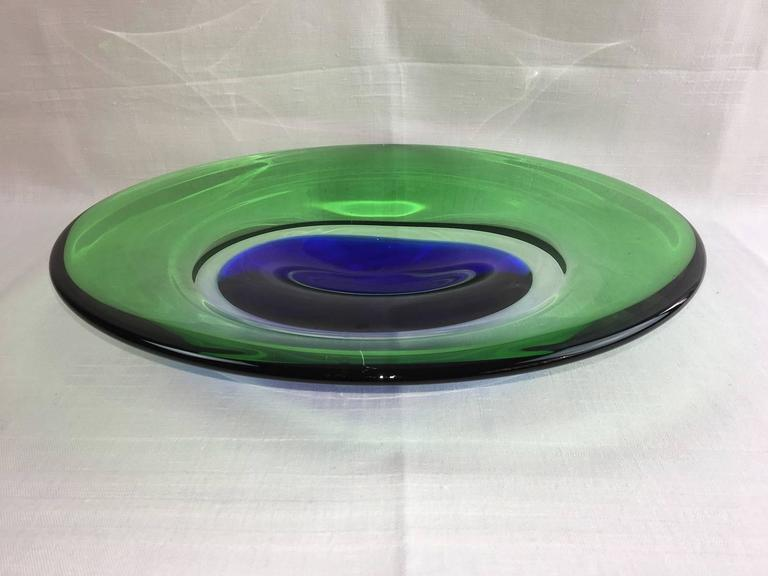 Beautiful Murano handmade Sommerso glass bowl with different colors in blue, green and clear glass. No visible maker marks. Beautiful Decoration Item as a fruit bowl or simply a lovely centerpiece.