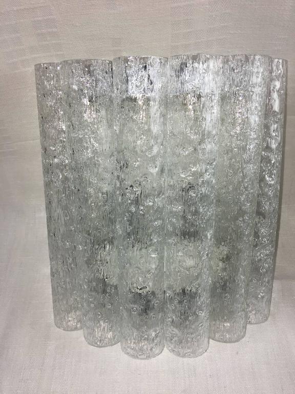 Mid-20th Century Pair of 1960s German Chrome Six Tubes Doria Glass Sconces For Sale