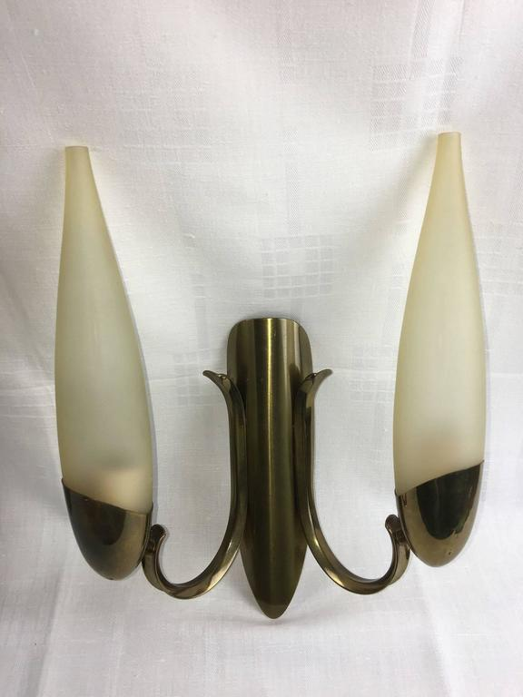 Pair of 1960s Italy Glass and Brass Two Tubes Sconces ON SALE For Sale 1