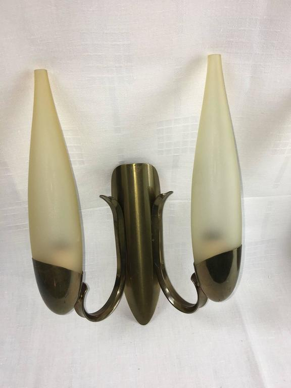 Pair of 1960s Italy Glass and Brass Two Tubes Sconces ON SALE In Good Condition For Sale In Frisco, TX