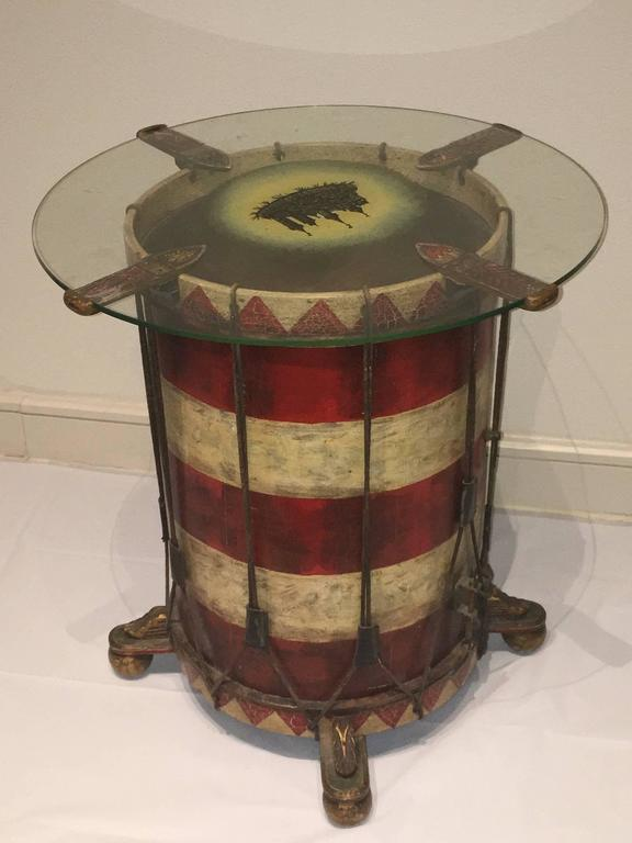 Mid-20th Century Vintage Nuremberg City Guard Drum Table, Dated 1938 For Sale