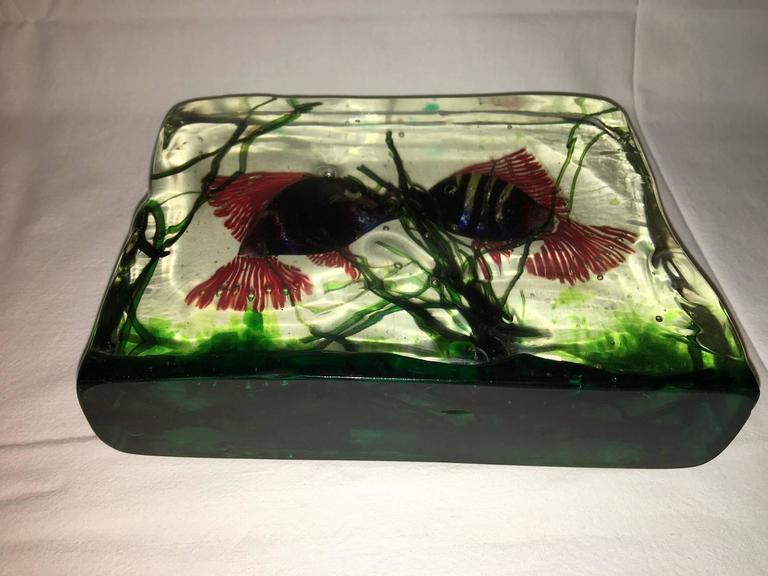 Large Murano Glass Aquarium Kissing Fish in Gino Cenedese Style For Sale 3
