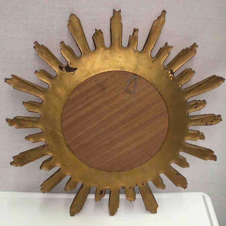 Convex Starburst Sunburst Gilded Resin Mirror, France For Sale 1