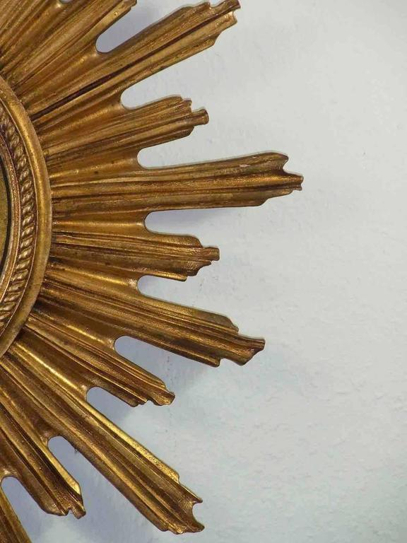 Mid-20th Century Convex Starburst Sunburst Gilded Resin Mirror, France For Sale